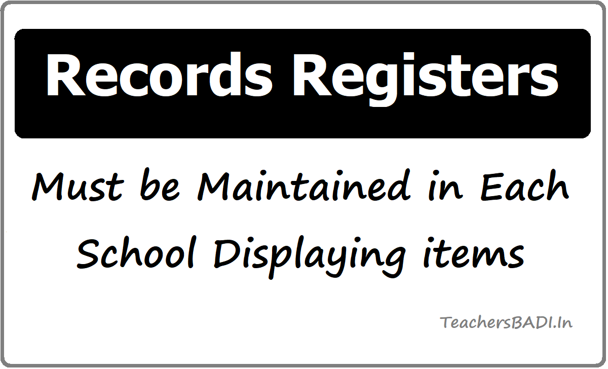 Records Registers must be Maintained in Each School
