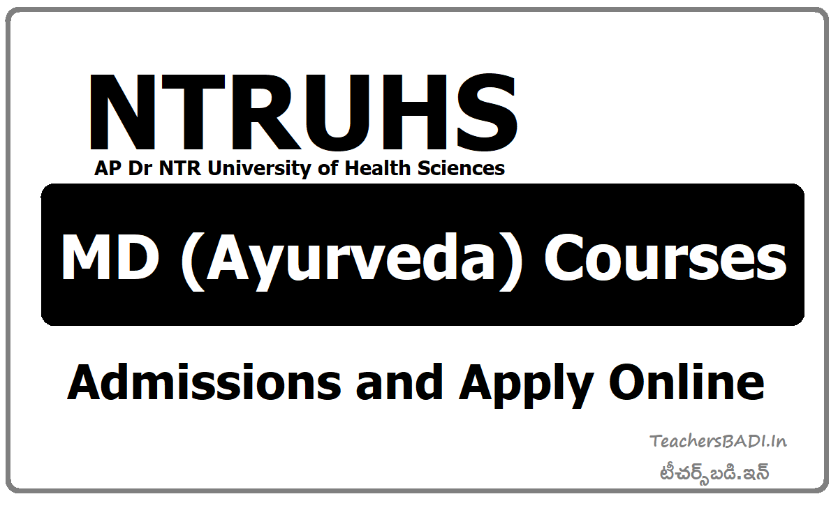 Dr. NTRUHS MD (Ayurveda) courses Admissions