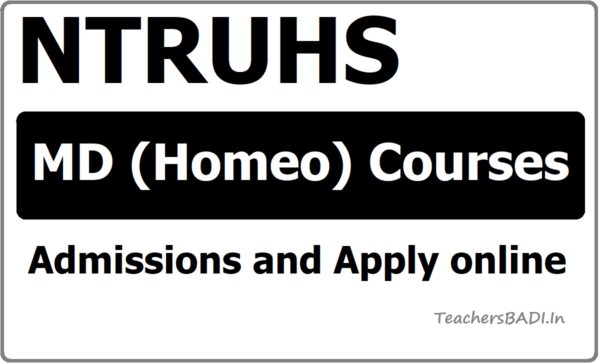 Dr.NTRUHS MD(Homeo) Courses admissions