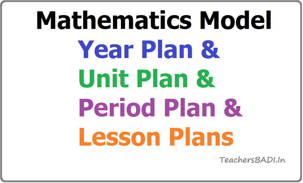 Mathematics Model Year Plan & Unit Plan