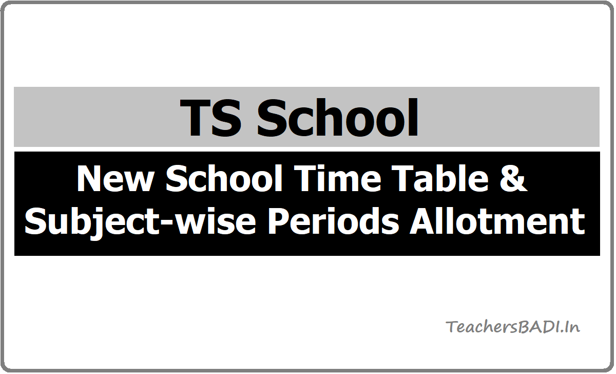 New School Time Table & Subject-wise Periods Allotment