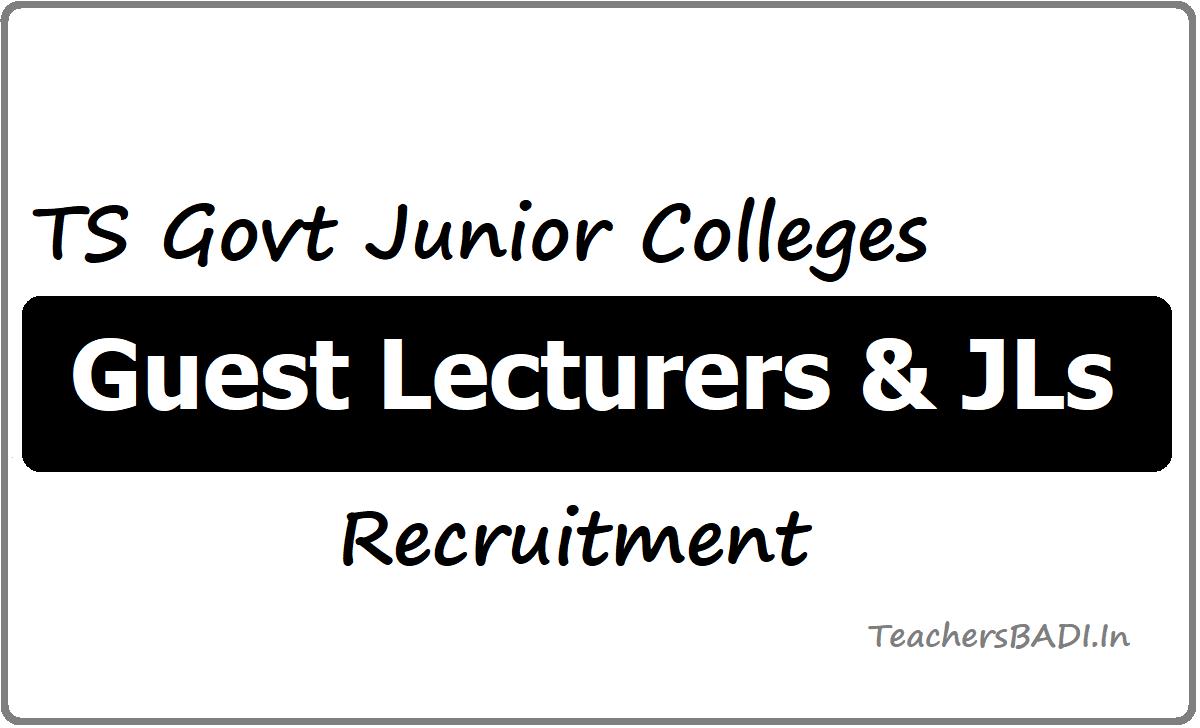 TS Govt Junior Colleges Guest Lecturers & JLs Recruitment