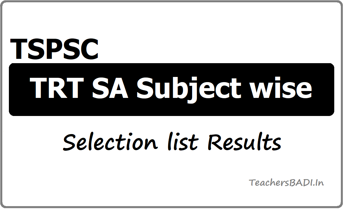 TSPSC TRT SA Subject wise Selection list Results