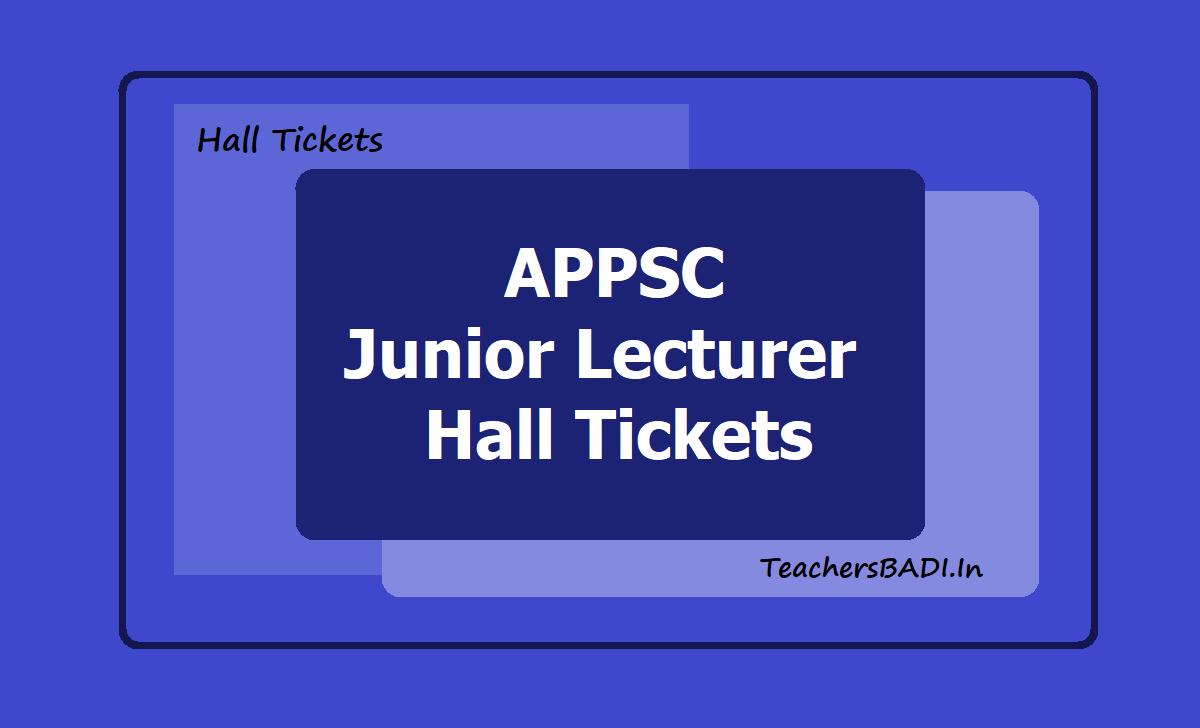 APPSC Junior Lecturer Hall Tickets