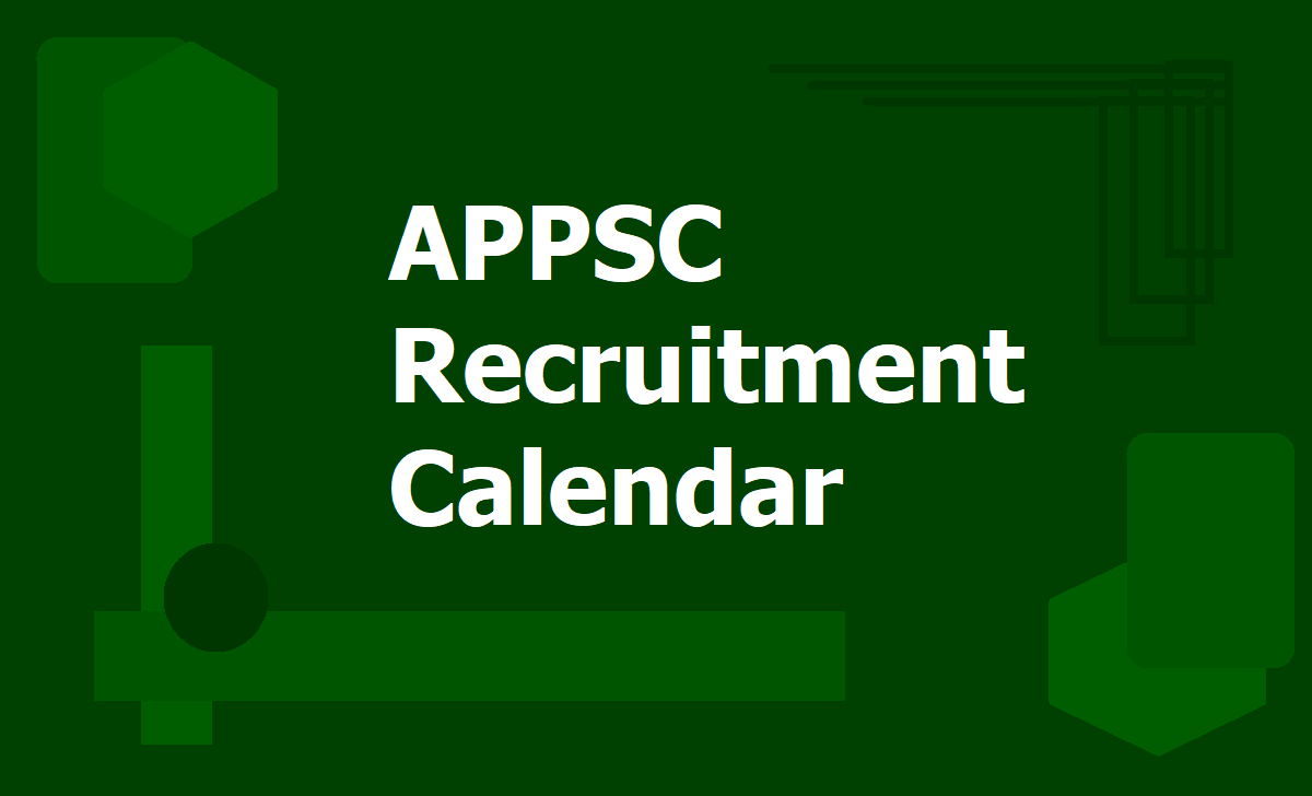 APPSC Recruitment Calendar 2020