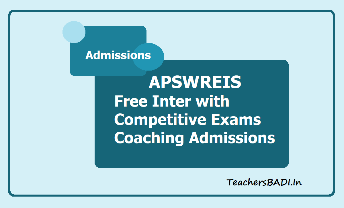 APSWREIS Free Inter with Competitive Exams Coaching 2020 admissions