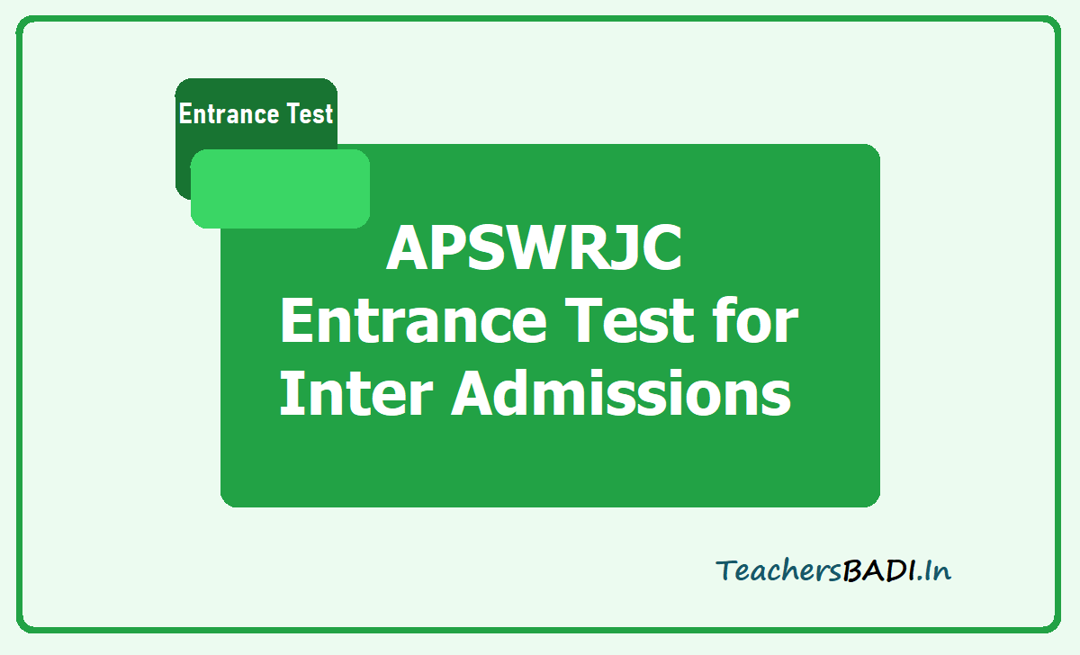 APSWRJC Entrance Test 2020 for Inter 1st year Admissions