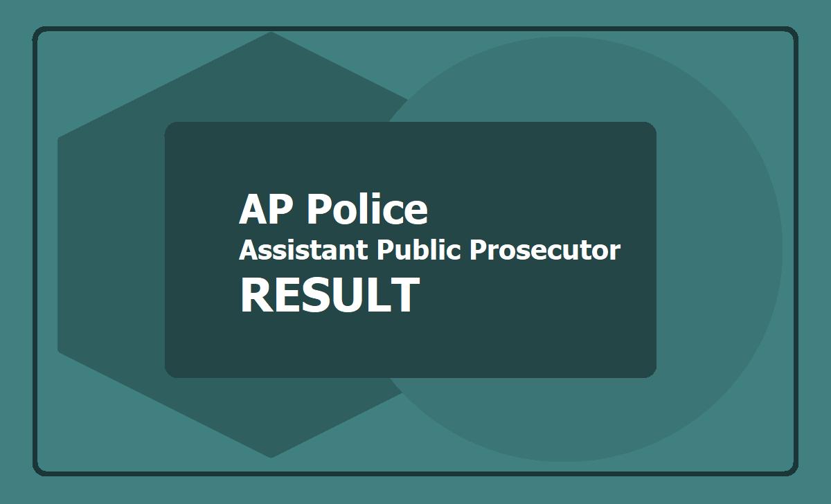 Assistant Public Prosecutor Result 2019