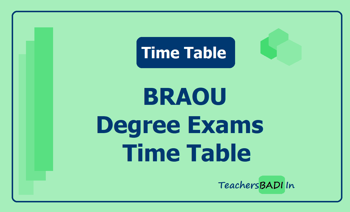 BRAOU Degree Exams Time Table 2020