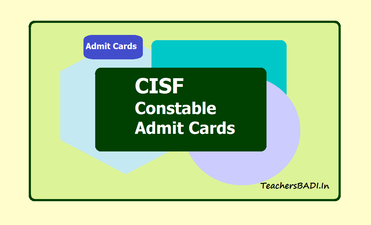 CISF Constable Admit Cards