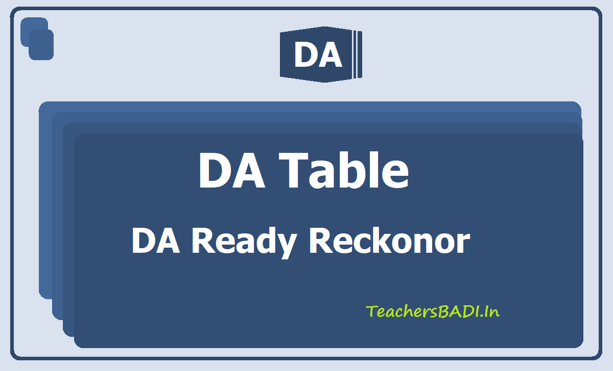 DA Ready Reckonor - DA Table