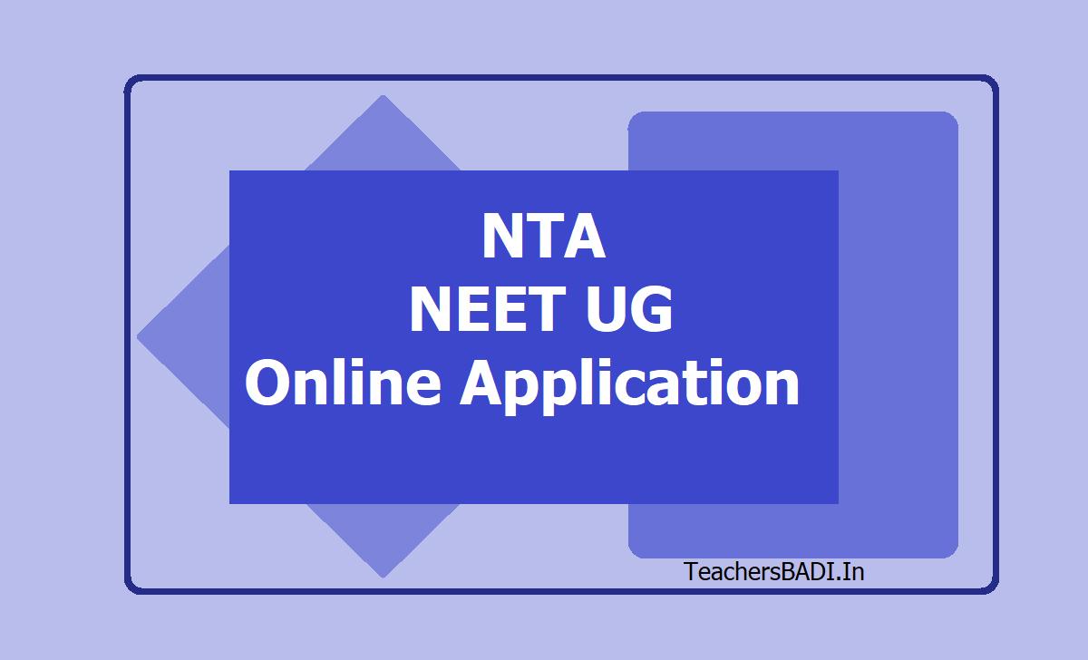 NTA NEET UG Online Application 2020