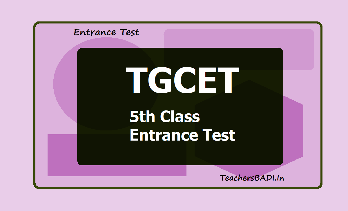TGCET 5th Class Entrance Test TS BC Welfare
