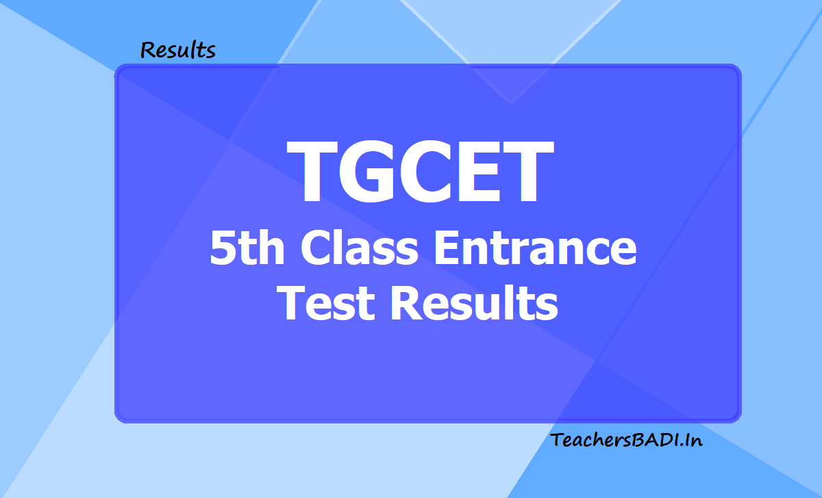 TGCET 5th class Entrance test Results