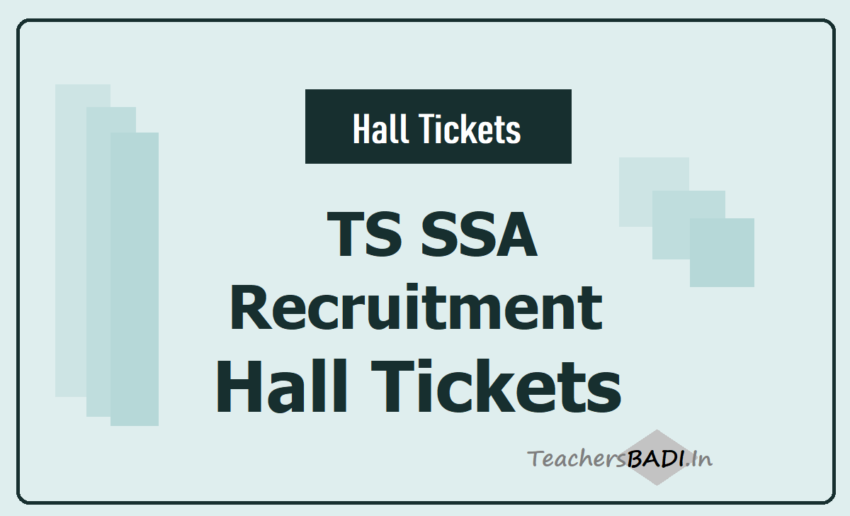 TS SSA Recruitment Hall Tickets 2020 download