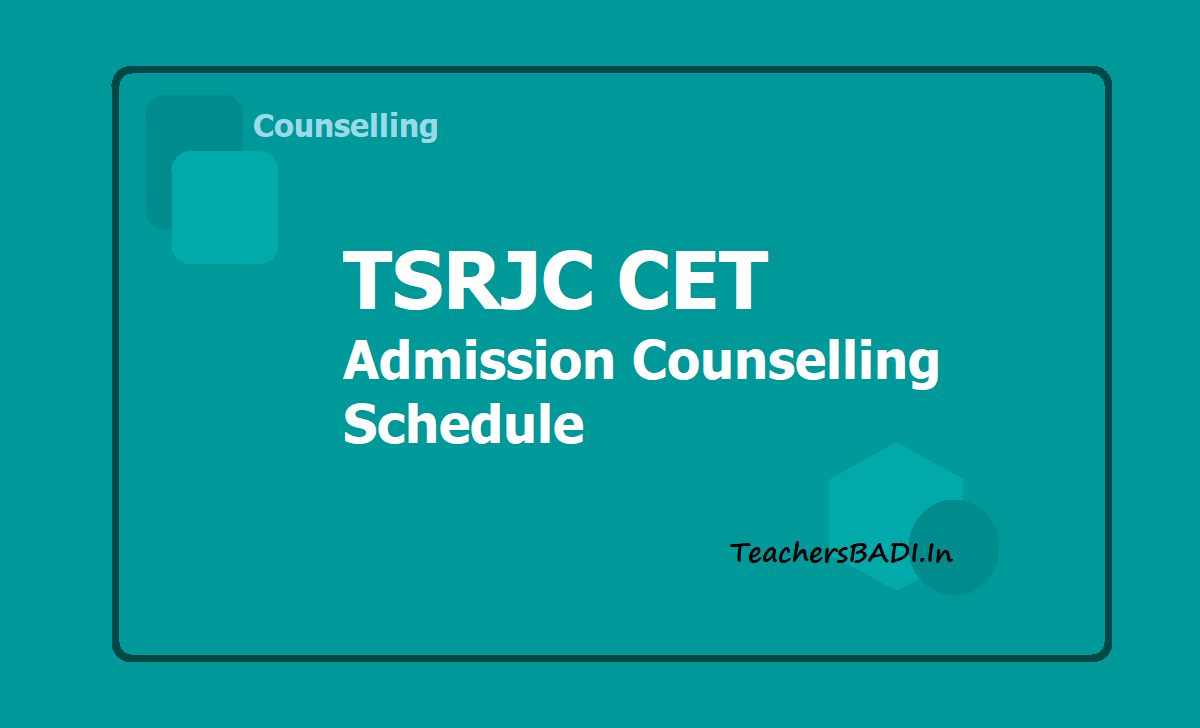 TSRJC CET Admission Counselling Schedule
