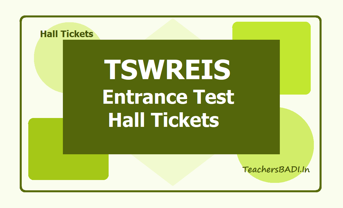 TSWREIS Entrance Test Hall Tickets 2021