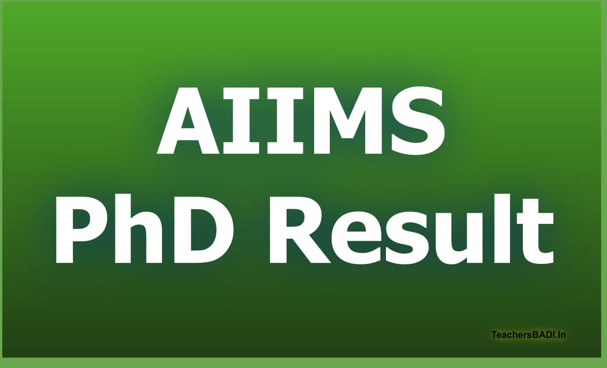 AIIMS PhD Entrance Exam Result 2020