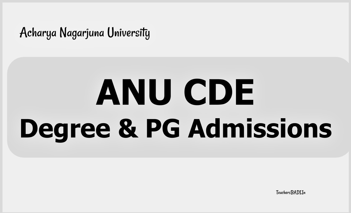 ANU CDE Degree & PG Admissions