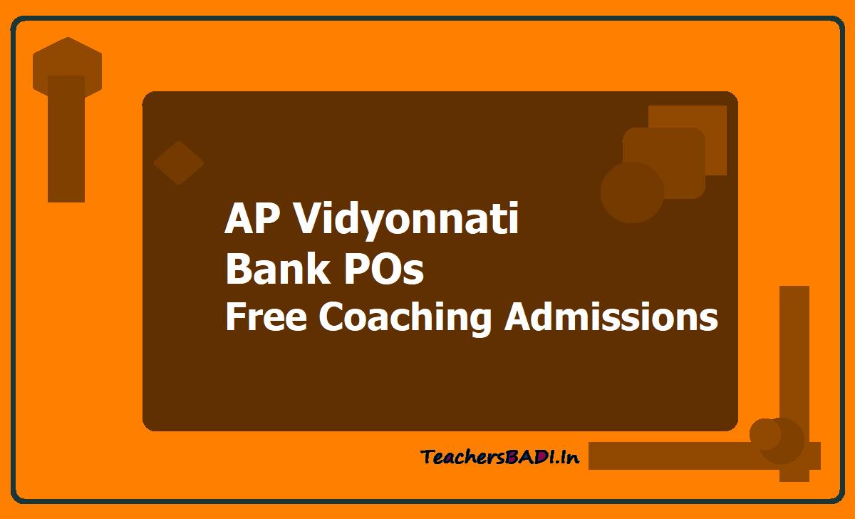 AP Vidyonnati Bank POs Free Coaching Admissions