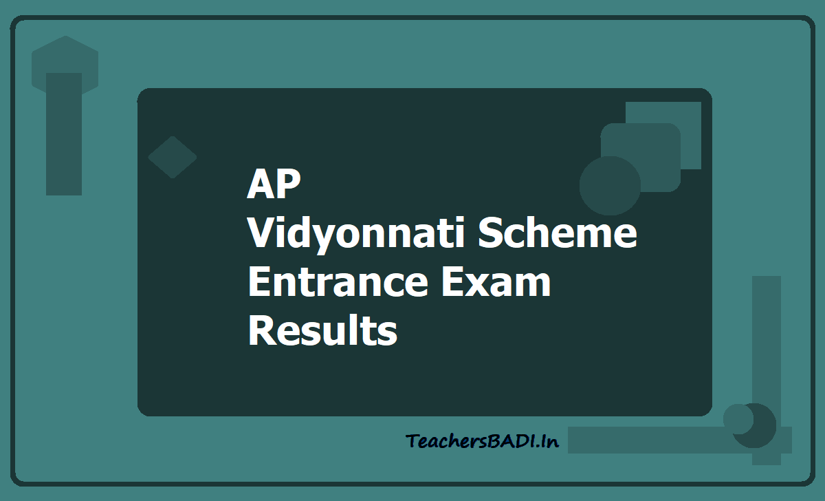 AP Vidyonnati Scheme Entrance Exam Results 2020