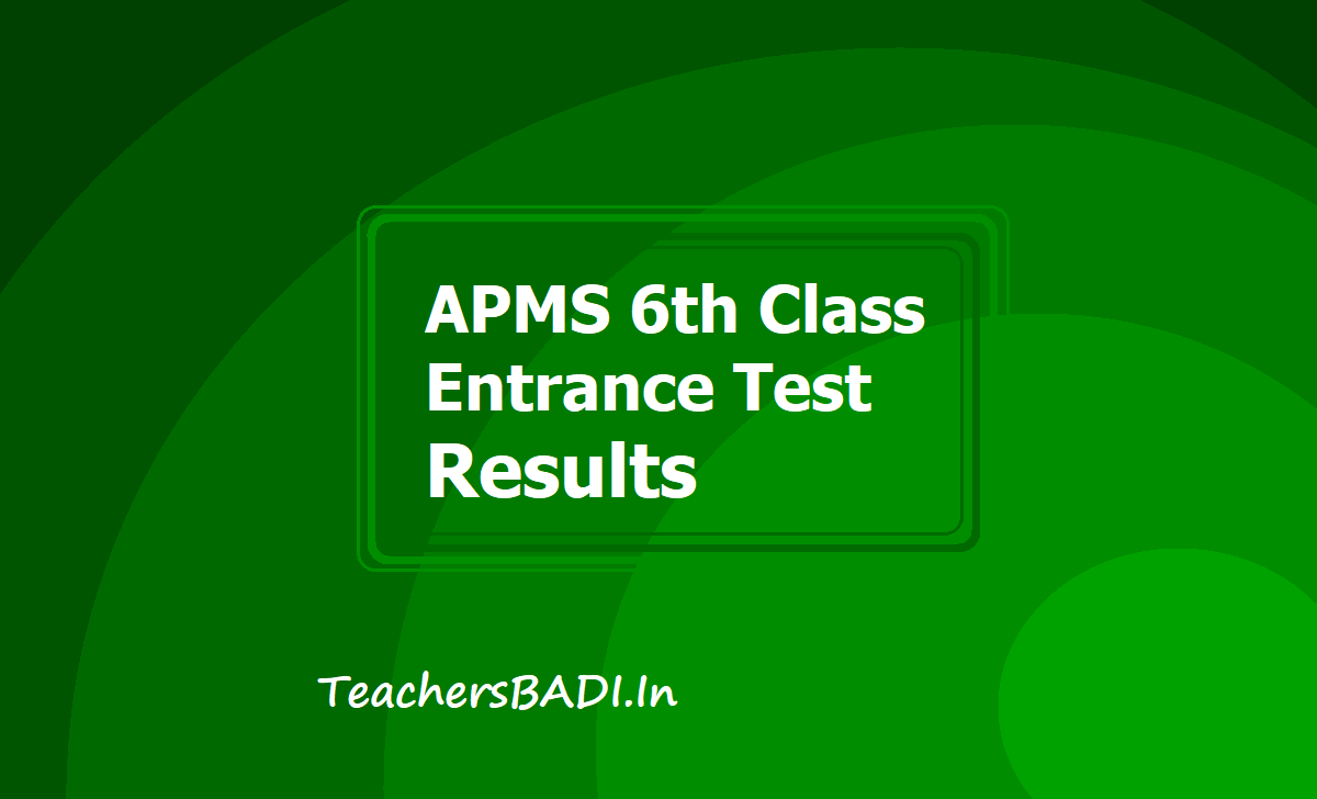 APMS 6th Class Entrance Test Results