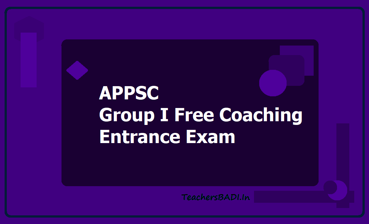 APPSC Group I Free Coaching Entrance Exam 2020