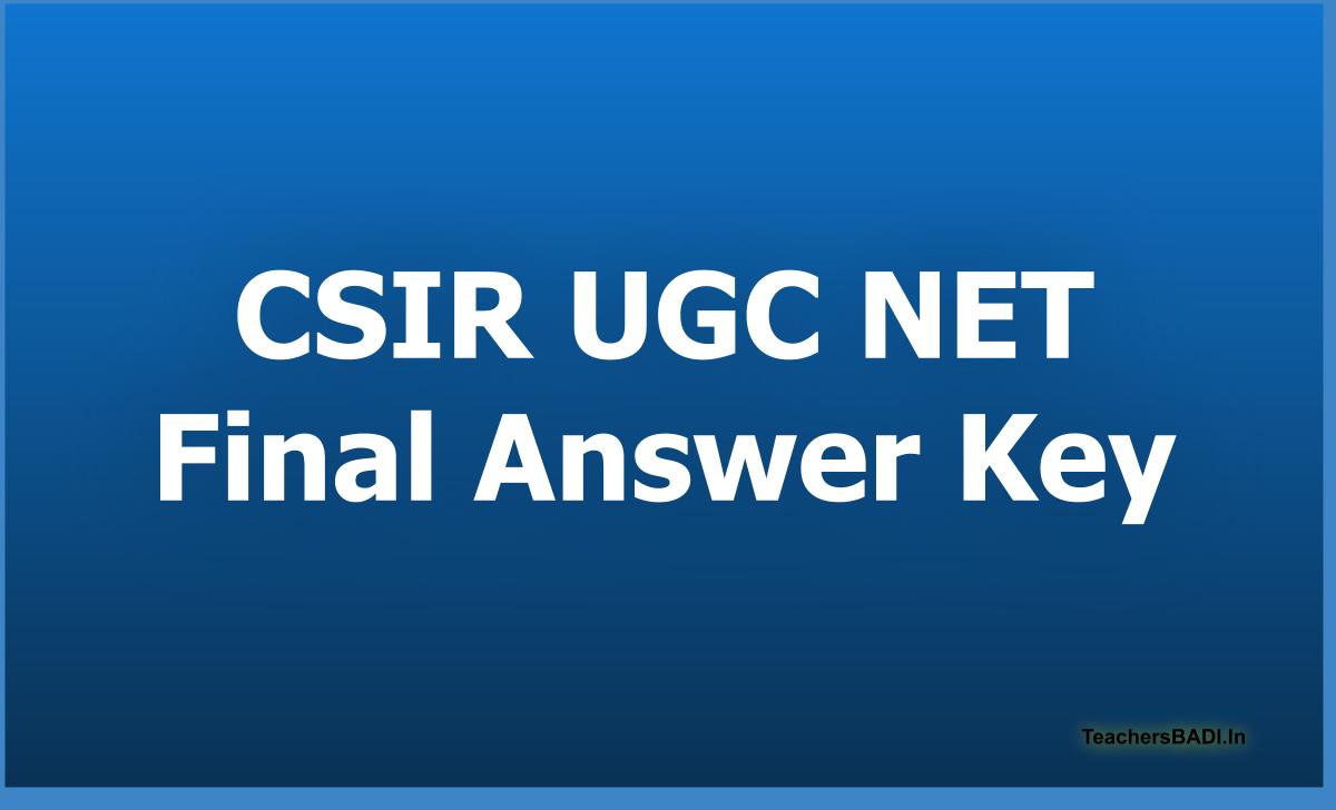 CSIR UGC NET Final Answer Key