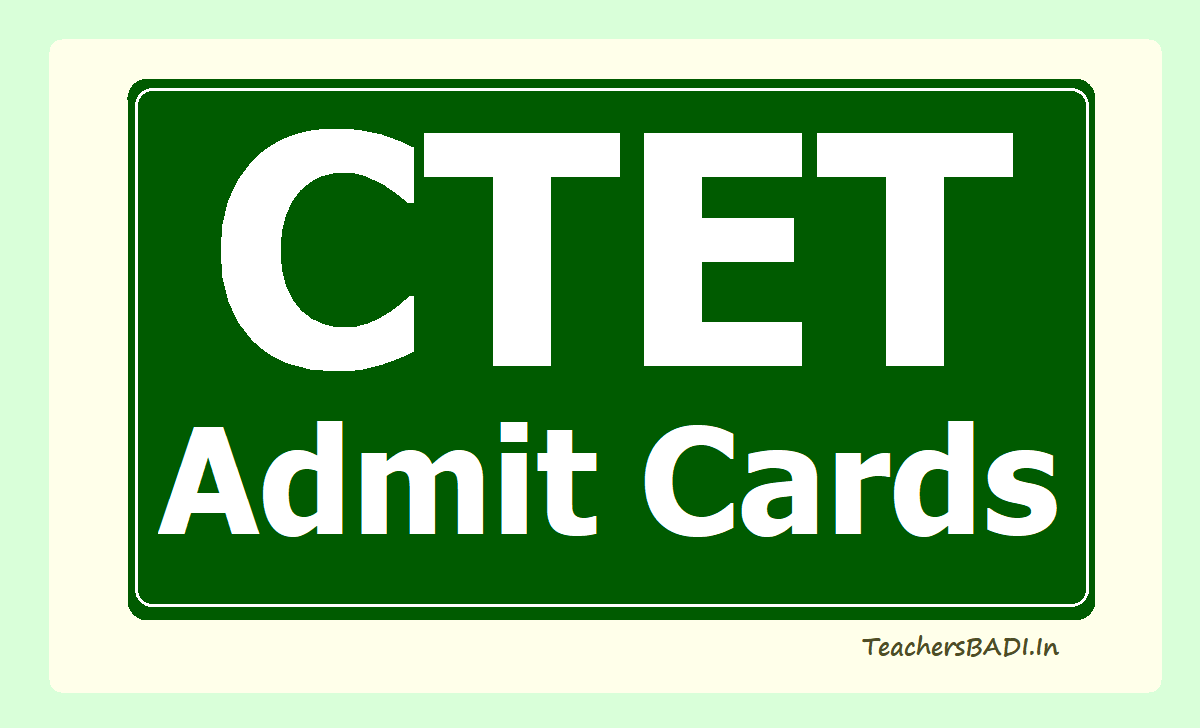 CTET Admit Cards 2020 download from www.ctet.nic.in