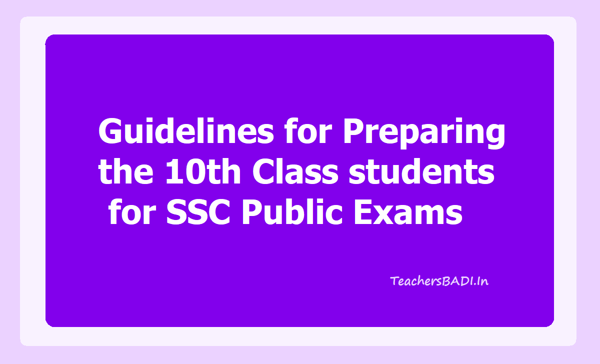 Guidelines for Preparing the 10th Class students for SSC Exams 2020