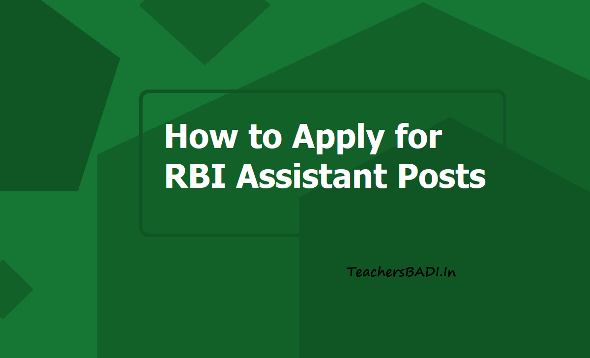 How to Apply for RBI Assistant Posts