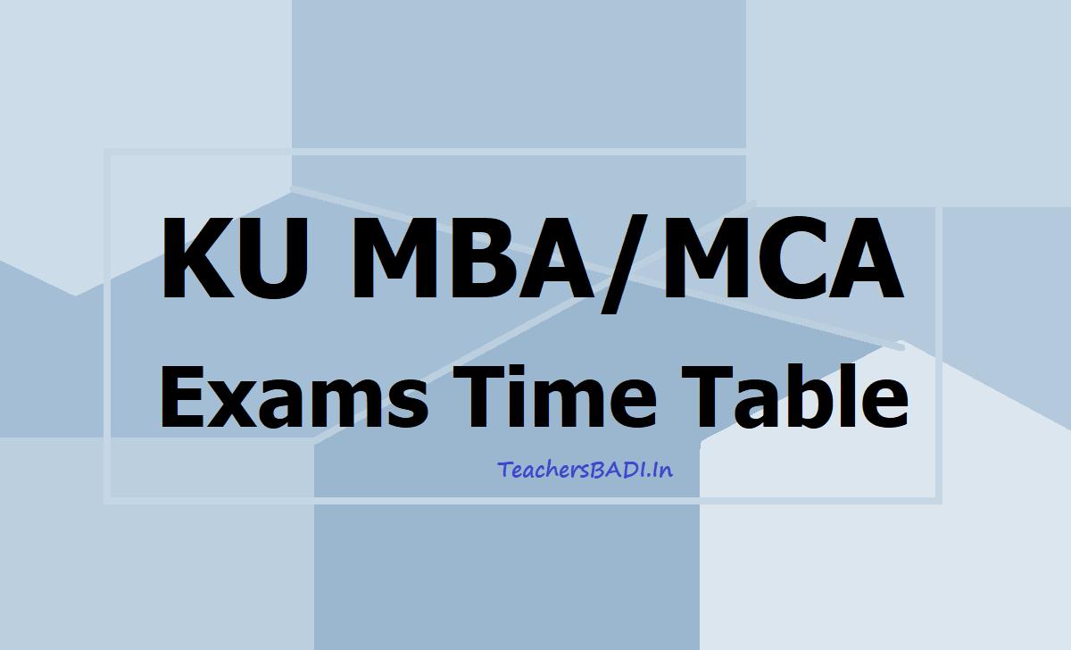 KU MBA MCA Exams Time Table