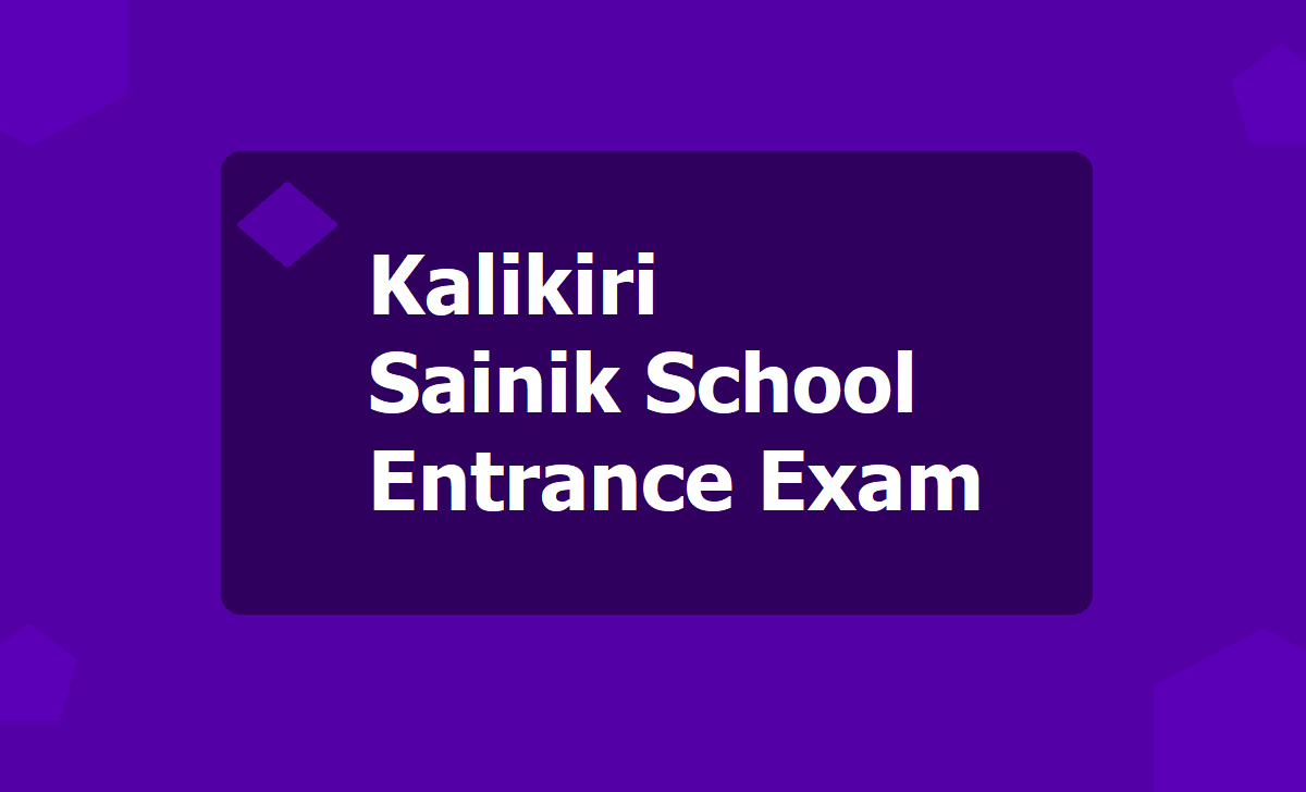 Kalikiri Sainik School Entrance Exam Hall tickets 2020