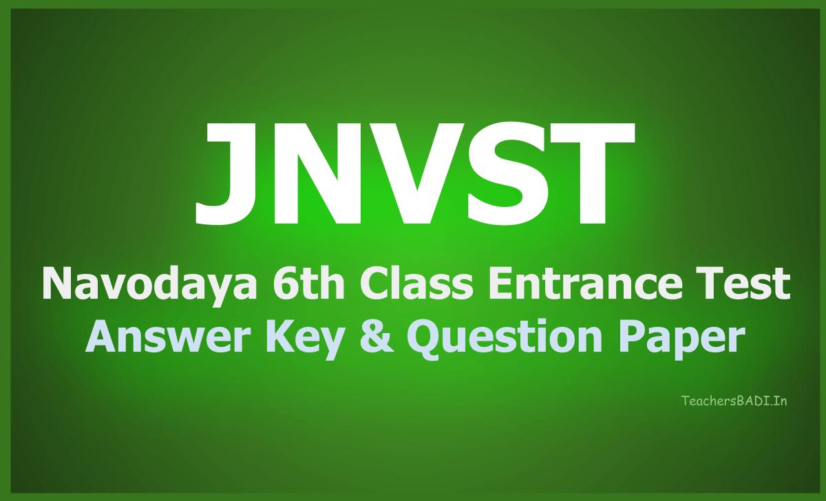 Navodaya 6th Class Entrance Test Answer Key & Question Paper