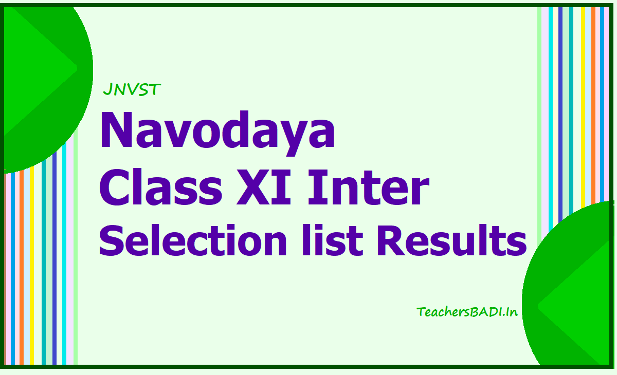 Navodaya Class XI Inter admissions Selection list Results