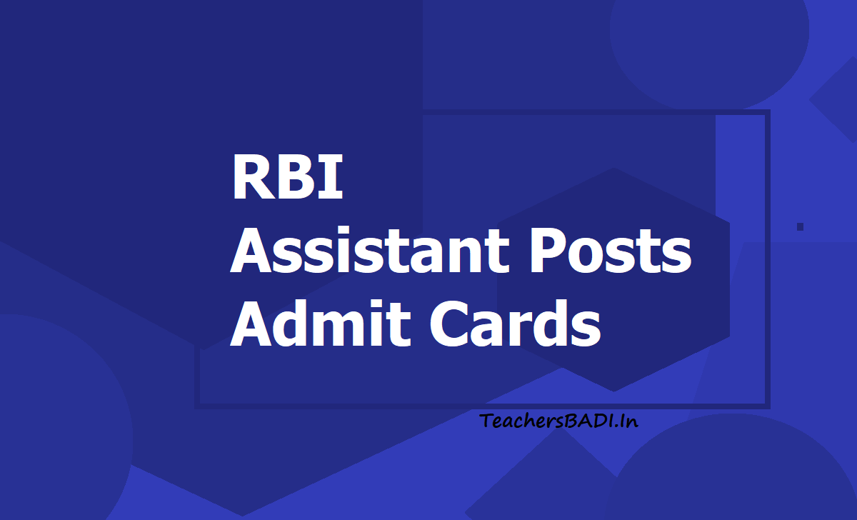 RBI Assistant Posts Admit Cards