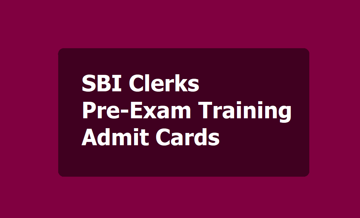 SBI Clerks Pre-Exam training Admit cards 2020