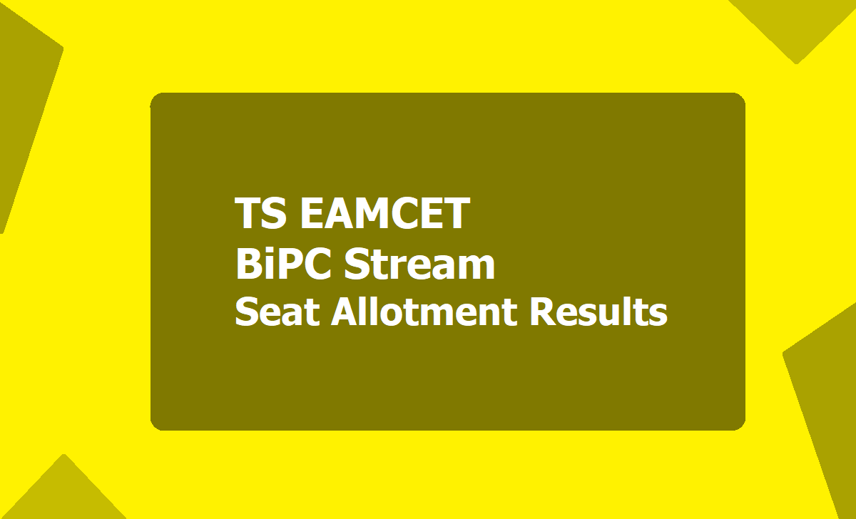 TS EAMCET BiPC Stream Seat Allotment Results 2020