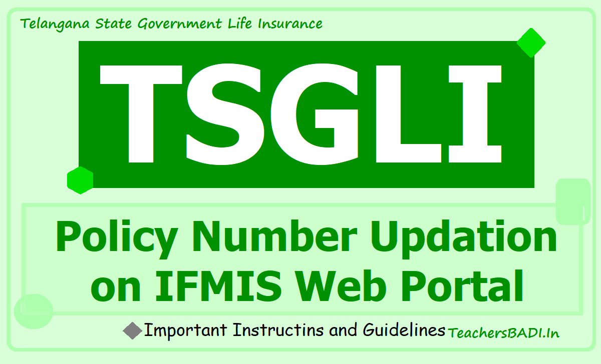TSGLI Policy Number Updation on IFMIS web Portal