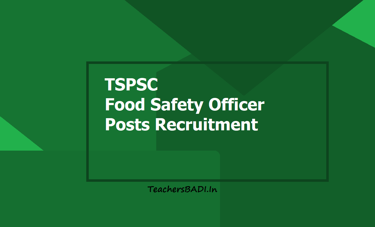 TSPSC Food Safety Officer posts Recruitment