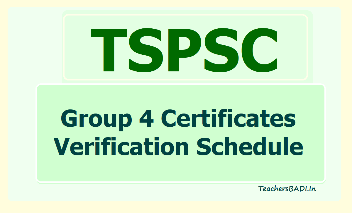 TSPSC Group 4 Certificates Verification Schedule 2020 Released for 2nd Spell