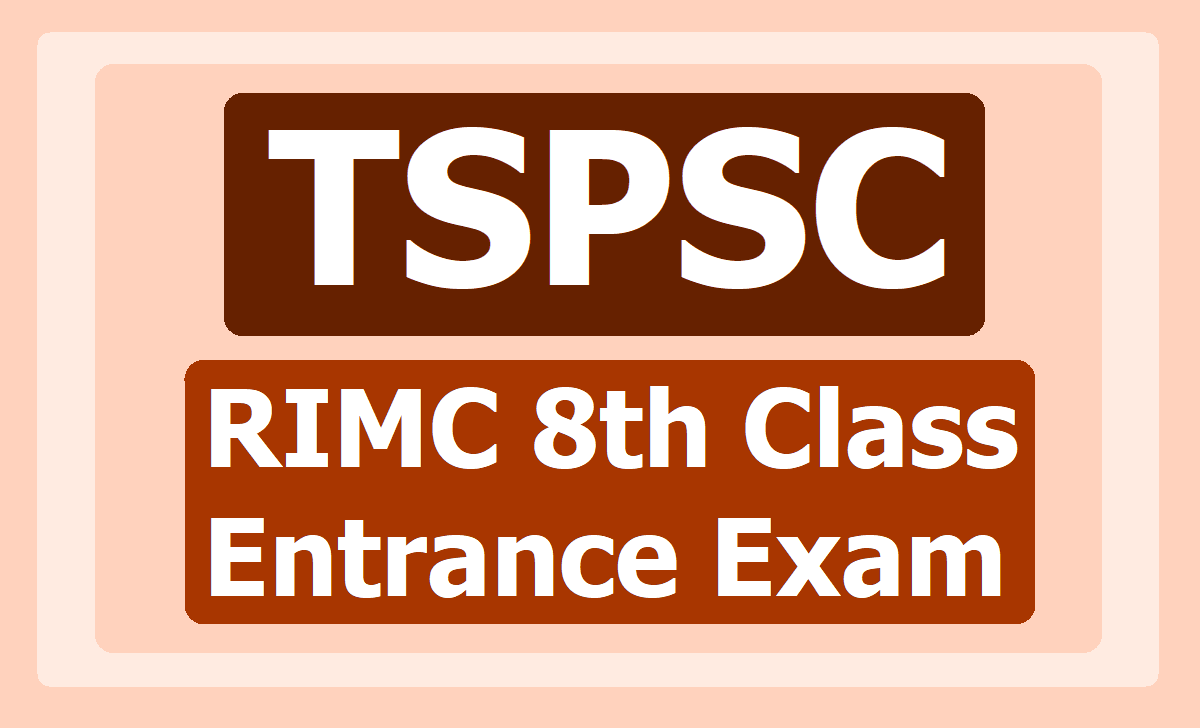 TSPSC RIMC VIII/8th Class Entrance Exam 2020 Notification