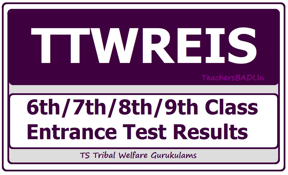 TTWREIS 6th 7th 8th 9th Class Entrance Test Results