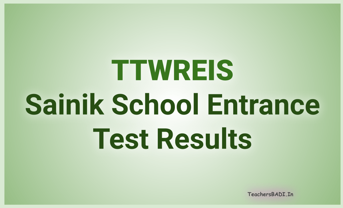 TTWREIS Sainik School Entrance Test Results