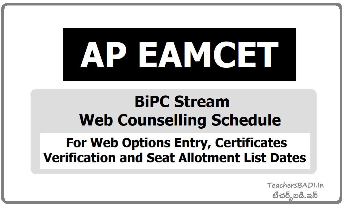 AP EAMCET BiPC Stream Web Options Entry, Certificates Verification, Seat allotment list dates