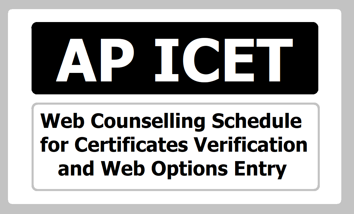 AP ICET Web Counselling Schedule for Certificates Verification& Web Options Entry 2020