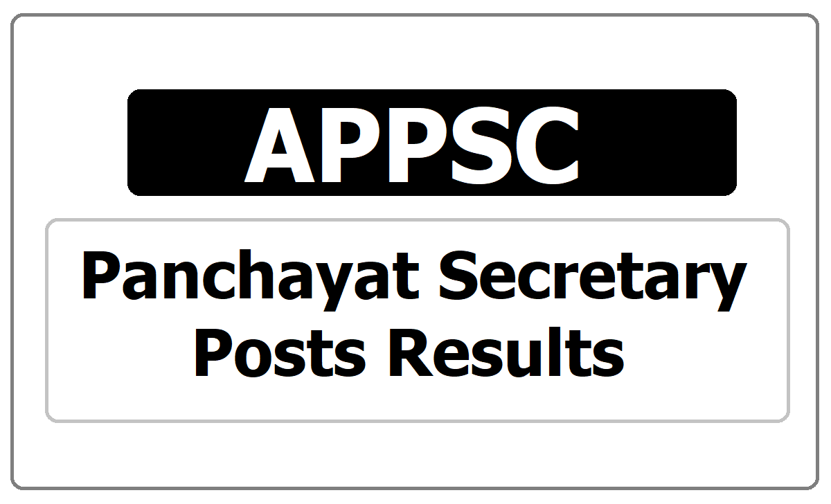 APPSC Panchayat Secretary Posts Results 2020 released
