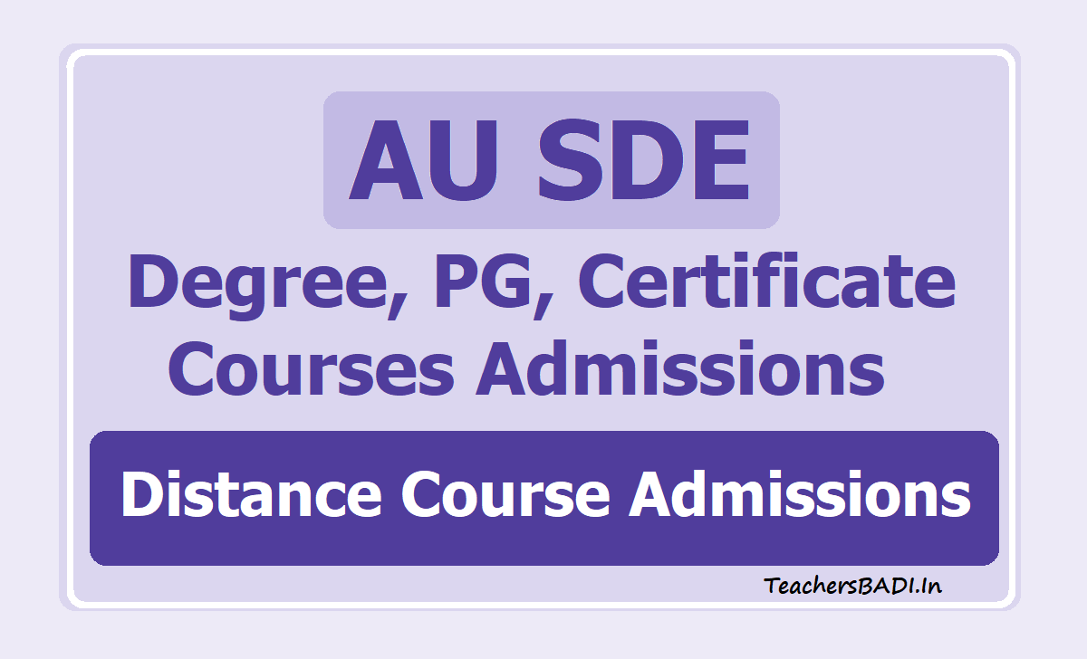 AU SDE Degree PG Certificate Courses Admissions 2020