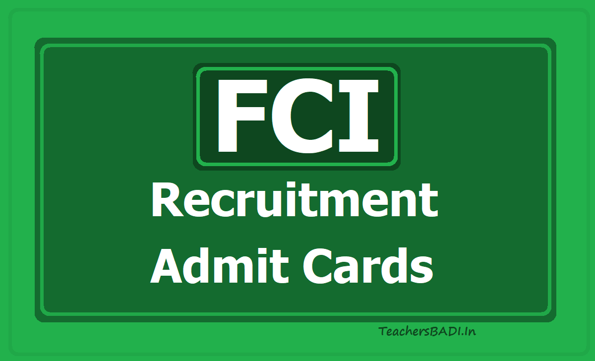 FCI Recruitment Admit Cards 2020 for Phase II Exam