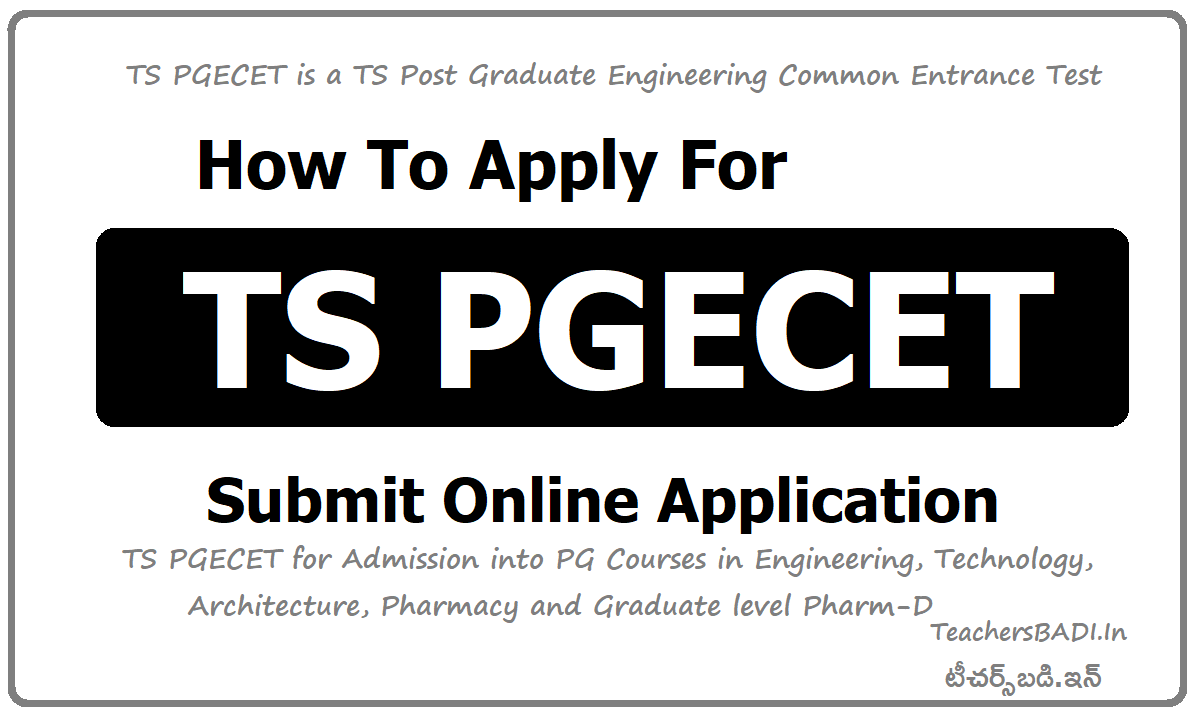 How To Apply for TS PGECET & Submit Online Application